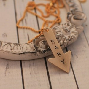 Baby Arrow Necklace - Hand Stamped Necklace - Arrow Necklace - Pointing to Expecting Baby Necklace - Expectant Mom Necklace - Brass Necklace