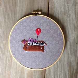 Free Monster Embroidery Hoop Art Decoration