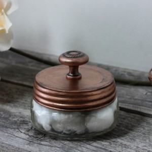 Mason Storage Jar with Antique Copper Finish, Hand painted and Distressed Bath Accessory, Cotton Balls, Q Tips, Makeup Sponges, Cream
