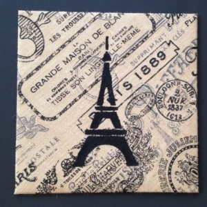 Eiffel Tower Burlap Picture - Burlap Art, Eiffel Tower // ready to hang, FREE SHIPPING
