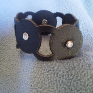 Black Leather Cuff Bracelet with Alternating Open and Solid Circles