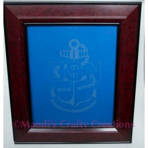 Military Navy Chief Anchor Personalized Glass Etched Frame- Etching, Anchor, Navy, Military, Support,Chief Proud Navy Wife, 8 x 10