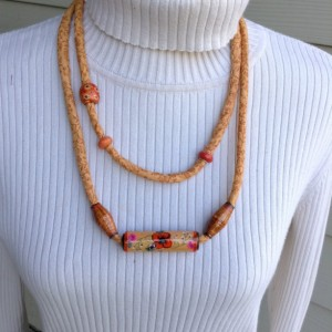 Textile Jewelry, Fabric Cord Necklace, Recycled Paper Bead
