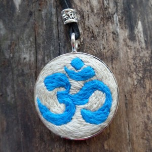 Blue OM Hand Embroidered Necklace