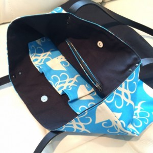 Large Tote Bag /// Jellyfish with Black Canvas Bottom and Black Buffalo Leather Straps