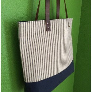 Large Tote Bag /// Classic Navy Stripes with Navy Canvas Bottom and Brown Buffalo Leather Straps