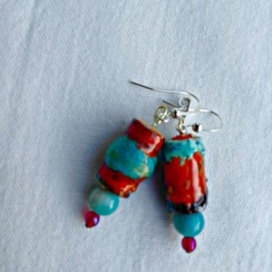 Raku Style Drop Earrings, Dangle Earrings, Recycled Paper Beads, Red-Orange and Blue, Boho Chic, Silver Tone French EarWires
