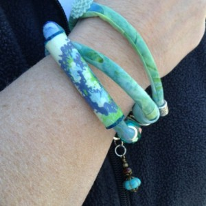 Fabric Cord Wrap Bracelet - Recycled Paper Beads - Lucite Beads and Dangle