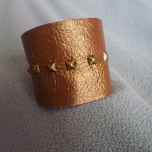 Embossed Oval Leather Cuff Bracelet with Antique Brass Studs