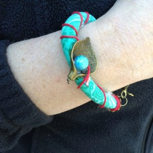 Fabric Cord Bracelet - Brass Leaf with Bead - Cord Wrap, Textile Bracelet, Fabric Jewelry, Turquoise and Red, Gift, Under 20