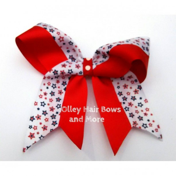 4th of july Cheer Hair Bow - 4th of July Bow - Stars Hair Bow -  America Accessories - Red White Blue  Accessories - 4th of July Accessories