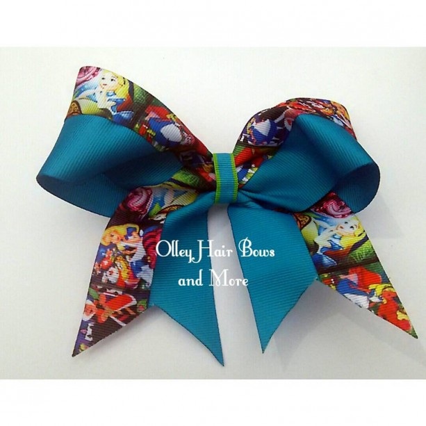 Alice in Wonderland Cheer Hair Bow - Alice in wonderland Hair Bow - Mad hatter Hair Bow -  Cheshire Cat Accessories - Alice Accessories