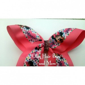 Minnie Polka Dot Cheer Hair Bow - Minnie Dot Hair Bow - Pink polka dot Hair Bow -  Minnie Accessories - Polka Dot  Accessories