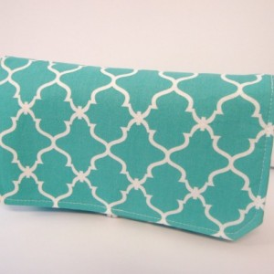Coupon Organizer Cash Budget Organizer Holder- Attaches to your Shopping Cart  - Quatrefoil Turquoise