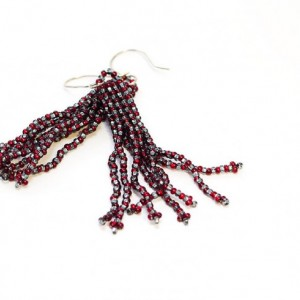 Beaded Tassel Earrings // Red and Silver // Stripes // Beadwork // Seed Beads // Handmade Silver Earwires