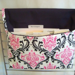Coupon Organizer / Budget Organizer Holder  - Attaches To Your Shopping Cart-  Black and Pink Damask Duck Canvas Decor Fabric