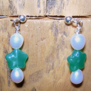White Pearl and Green Glass Earrings- Bright Are The Stars