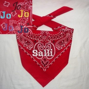 GLOW in the DARK Personalized Red Dog Bandana with White, Golden or Electric Blue Lettering