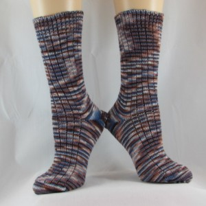 Bits of Brown and Blue Hand Cranked Socks-Free Shipping