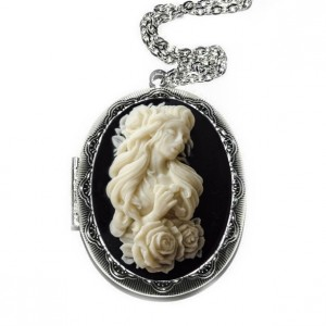 Crying Girl Cross Cameo Locket