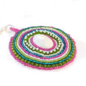 Beaded Pendent // Necklace // Bead Embrodery // Pink, Blue, Green, White // Beadwork // Seed Beads // Howlite