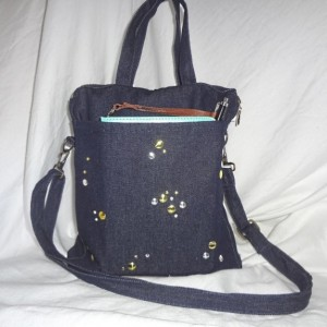 BACK TO SCHOOL Denim Tablet Bag with Gold & Silver Studs