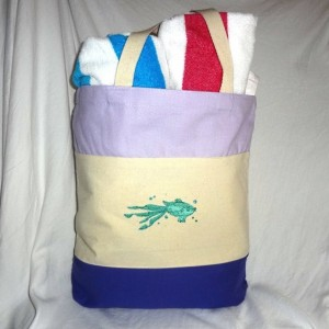 AWESOME Colorful Embroidered Purple & Lavender Book Bag, Project Catch All (Embroidery Both Sides)