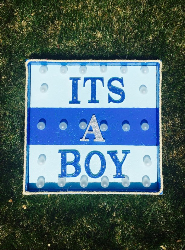 Its A Boy Lighted Blue Marque Sign Baby Shower Boy