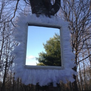 Gorgeous White Feathered Mirror (Handcrafted Original Design)
