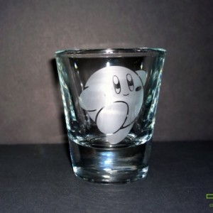Kirby's Adventure - Kirby - Etched Shot Glass