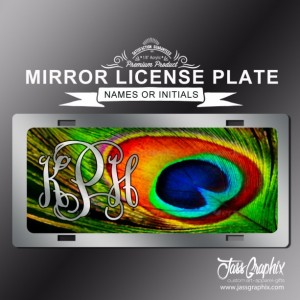 Monogrammed Peacock Mirror license plates & monogram car tags. These custom printed car tags are personalized with name or initials