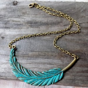 Faux Patina Metal Feather Necklace, Boho Chic Feather Necklace, Rustic Necklace, Boho Chic Jewelry, Nickel Free Necklace