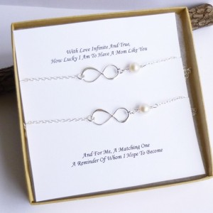 Mother Daughter Set of Two Sterling Silver Infinity Bracelets with Gift Messages
