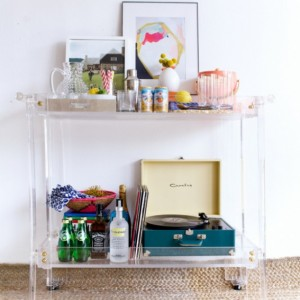 Lucite/Acrylic Rolling Bar