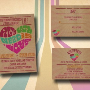 Custom Retro Wedding Invitations with RSVP - Retro Poster - All you need is love