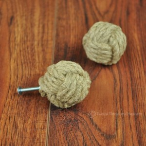 Large Knobs - Hemp Rope Monkey Fist Drawer Pulls – Cabinet Knobs – Rustic Knobs – Beach Decor - 1 Pair