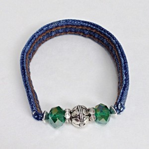 Green Beaded Wrap Bracelet, Recycled Upcycled Eclectic Cuff Braclet, Denim Blue Jean Seams, Eco Friendly Jewelry Stretch Bracelet