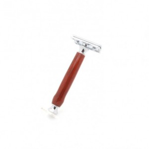 Artisan Classic Double Edge Safety Razor featuring Bloodwood, handmade double edge wood razor, wet shaving, nostalgic gift for him