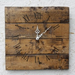 Pallet Wood Wall Clock with Warm Coffee Stain. Natural Look. Rustic. Charming. Customizable. Wedding. Housewarming.Gift.