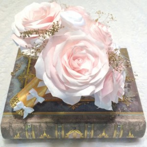 Blush paper roses and gold baby's breath Bridal bouquet, Made in colors of your choice, Shabby chic gold and blush bouquet, Throw bouquet