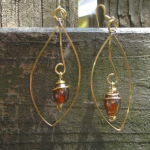 Dangling Teardrop Gold Wire Earrings With Brown Czech Bead in Spirals