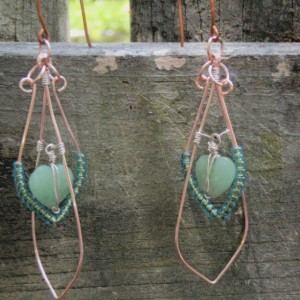 Green Heart Shaped Beach Glass Suspended in Rose Gold Double Drop