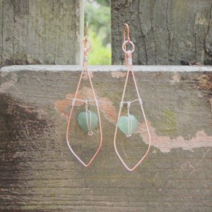 Green Beach Glass Heart Suspended Inside Rose Gold Teardrop
