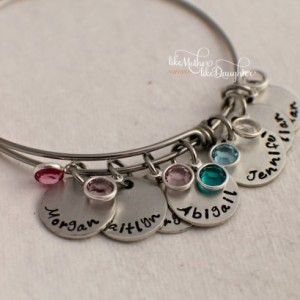 Hand Stamped Personalized Bracelet - Adjustable Bracelet - Mother's Bracelet with Birthstones - Birthstone Bracelet - Personalized jewelry