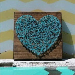String Art Heart in Teal Blue on Stained Wood. Handmade by Nailed It Designs. Unique Gift Under 10.