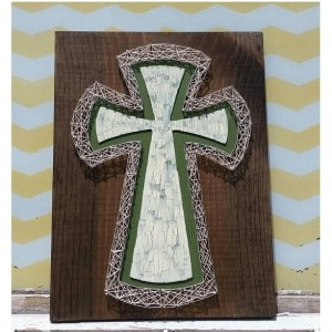 SALE String Art Cross. Green and Cream Paint outlined in Cream colored String Art. On Dark Walnut Stained Wood. Handmade by Nailed It Design