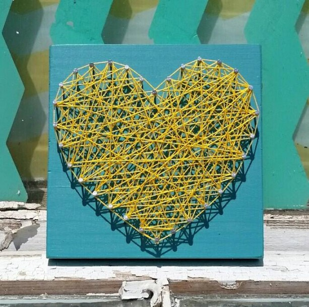 Yellow String Art Heart on Teal Blue. Unique Gift Idea Under 10. Handmade by Nailed It Designs.