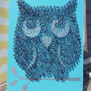 String Art Glitter Owl on Teal Blue. Unique Gift Idea Handmade by Nailed It Design.