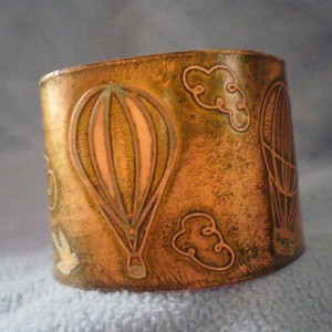 2 Inch Copper Etched Cuff Bracelet with Balloon Design - Green