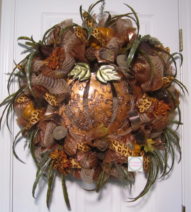 Fall Copper Pumpkin Wreath Fall Deco Mesh Cooper Pumpkin